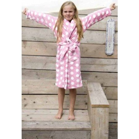 Badrock badjas kind Little Pink Dottie fleece met sjaalkraag