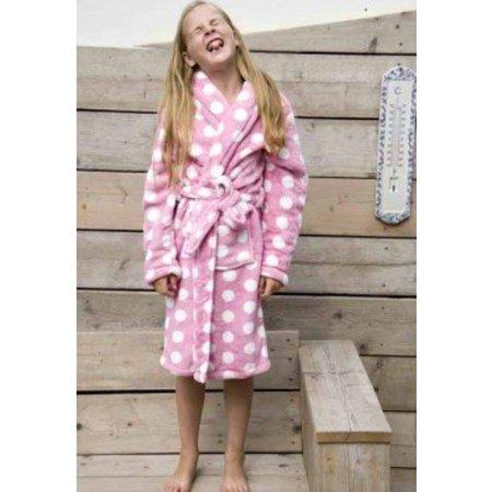 badjas kind Little Pink Dottie fleece met sjaalkraag