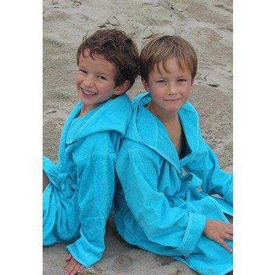 badjas kind aquablauw met capuchon