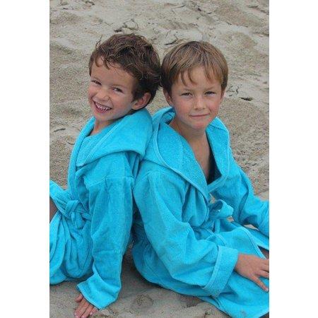 badjas kind aquablauw katoen met capuchon