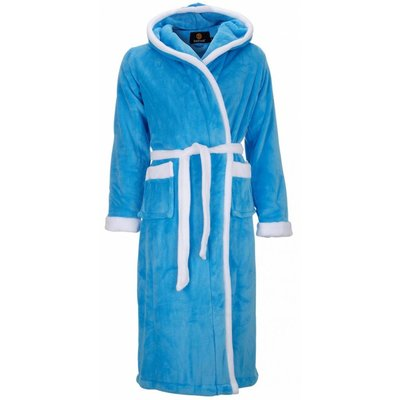 badjas unisex aquablauw-wit met capuchon