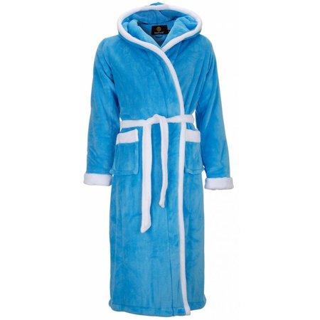 Badrock badjas badjas unisex aquablauw-wit fleece met capuchon