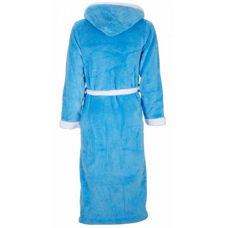 badjas unisex aquablauw-wit fleece met capuchon