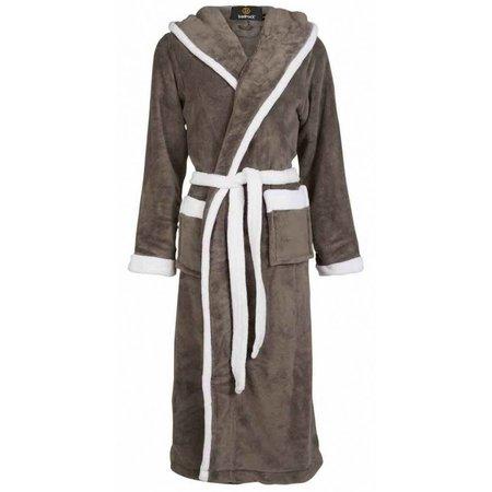 badjas unisex grijs-wit fleece met capuchon