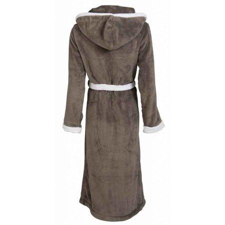 Badrock badjas badjas unisex grijs-wit fleece met capuchon