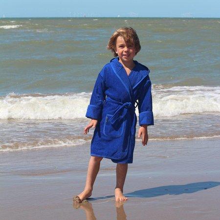 Badrock badjas kind kobalt blauw katoen met capuchon
