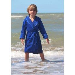 Badrock badjas kind kobalt blauw met capuchon