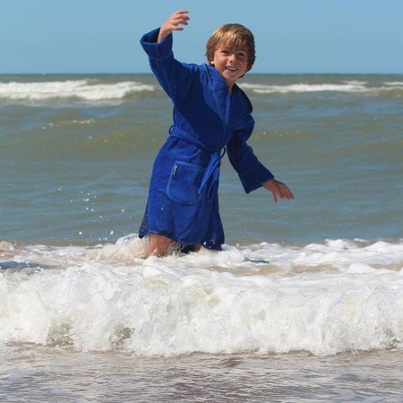 Badrock badjas badjas kind kobalt blauw katoen met capuchon