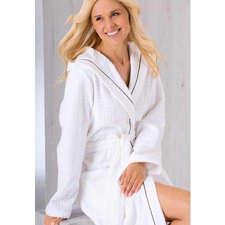 Cawö badjas badjas dames wit katoen met capuchon