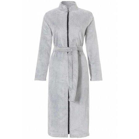 Pastunette badjas dames zigzag grijs fleece met rits