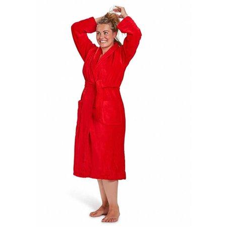 badjas unisex rood katoen met sjaalkraag