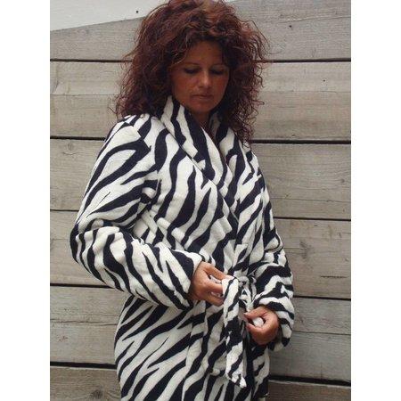 badjas dames Zebra  fleece met sjaalkraag