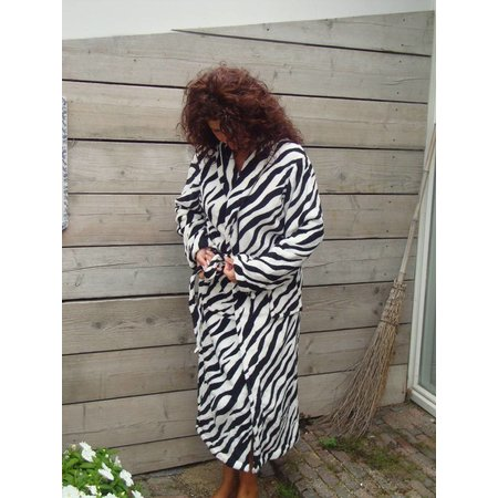 Badrock badjas badjas dames Zebra  fleece met sjaalkraag