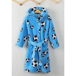 Playshoes badjas kind Voetbal blauw met capuchon