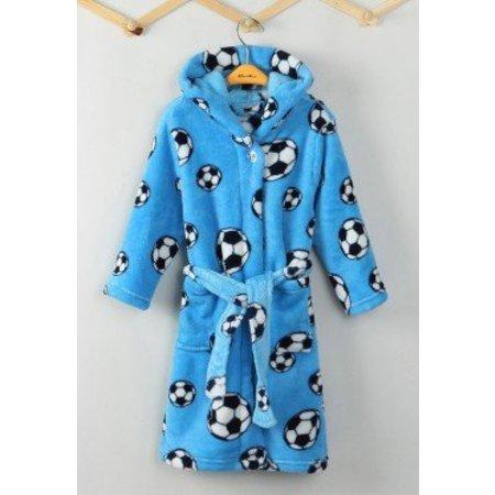 Playshoes badjas badjas kind Voetbal blauw fleece met capuchon