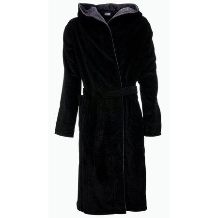 badjas heren zwart katoen met capuchon