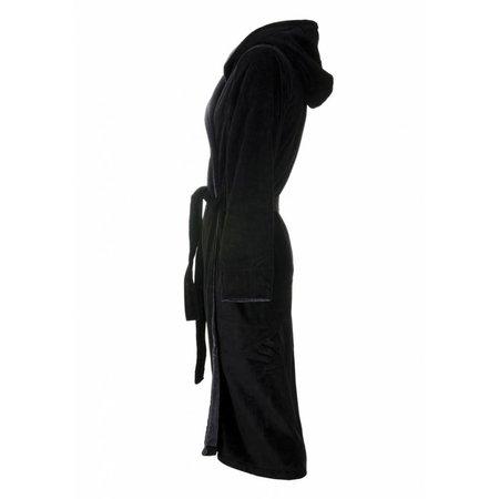 Badrock badjas heren zwart katoen met capuchon
