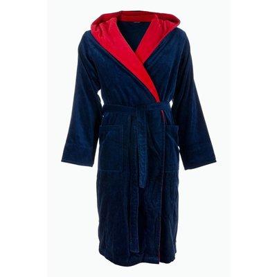 Badrock badjas heren blauw-rood met capuchon