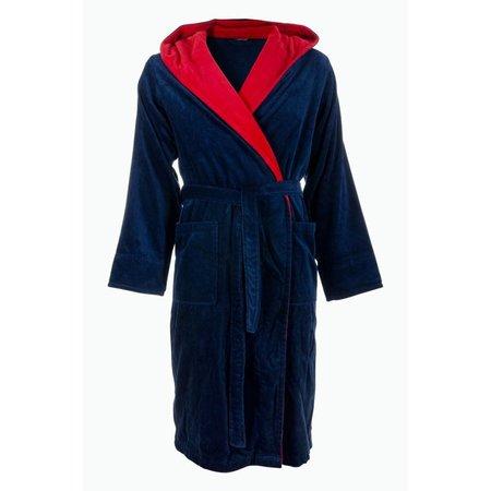 badjas heren marineblauw-rood katoen met capuchon
