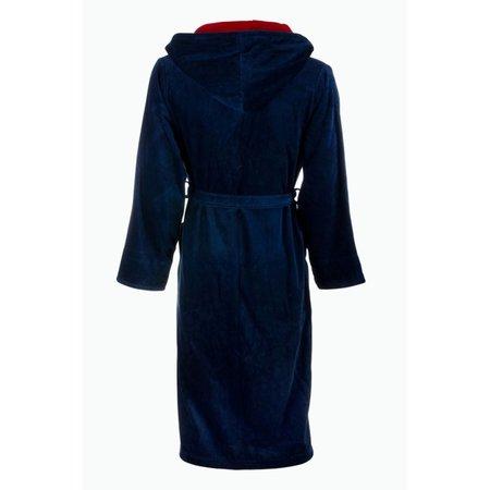 Badrock badjas heren marineblauw-rood katoen met capuchon