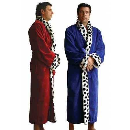 Funky  herenbadjas King rood katoen met sjaalkraag