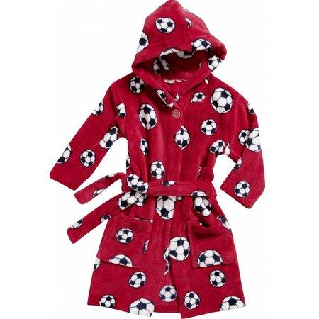 Playshoes badjas kind Voetbal rood fleece met capuchon