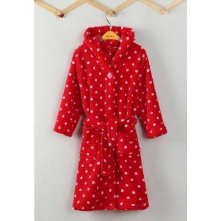 Playshoes badjas badjas kind Stippen rood fleece met capuchon