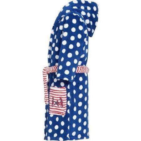 Playshoes badjas badjas kind Stippen Zeepaard blauw fleece met capuchon
