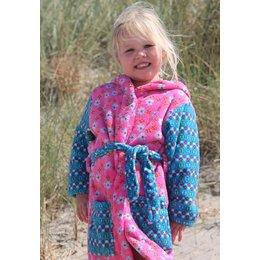 Playshoes badjas kind Bloemetjes roze-blauw met capuchon
