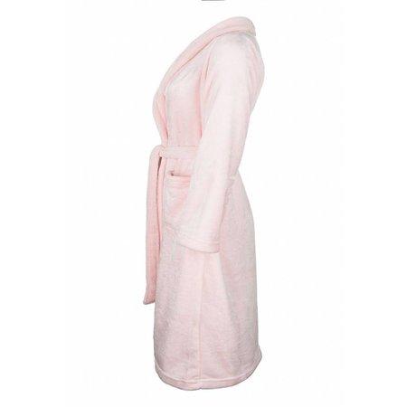 Badrock badjas badjas kind lichtroze fleece met sjaalkraag
