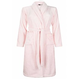 Badrock badjas badjas kind lichtroze met sjaalkraag