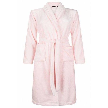 badjas kind lichtroze fleece met sjaalkraag