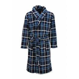 Paul Hopkins badjas heren geruit blauw met sjaalkraag
