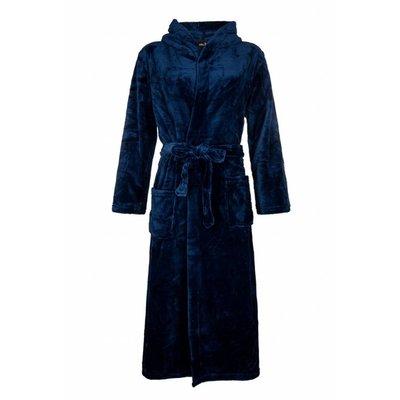 Badrock badjas unisex marineblauw met capuchon - fleece