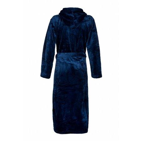 Badrock badjas unisex marineblauw fleece met capuchon