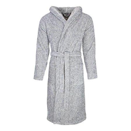 Badrock badjas unisex grijs gemêleerd katoen met capuchon