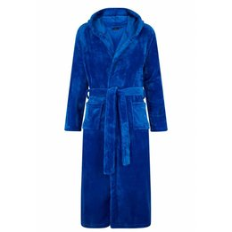 Badrock badjas badjas unisex kobaltblauw met capuchon - fleece