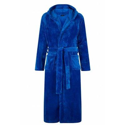 badjas unisex kobaltblauw met capuchon - fleece