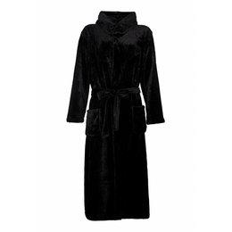 badjas unisex zwart met capuchon - fleece