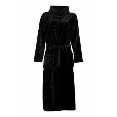 Badrock badjas badjas unisex zwart met capuchon - fleece