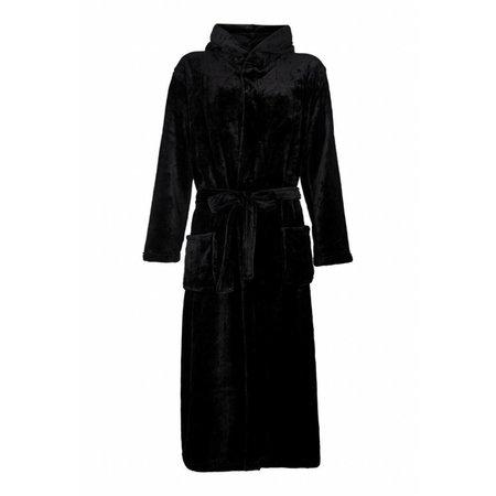 Badrock badjas badjas unisex zwart fleece met capuchon - fleece
