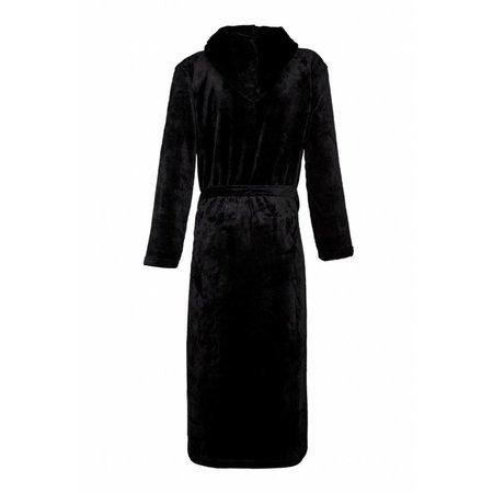 Badrock badjas unisex zwart fleece met capuchon - fleece