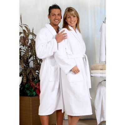 badjas unisex wit met sjaalkraag