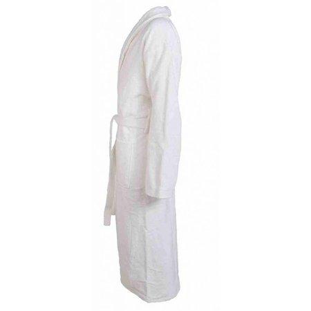 badjas unisex wit katoen met sjaalkraag - grote maten badjas