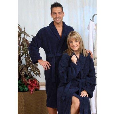 badjas unisex marineblauw met sjaalkraag