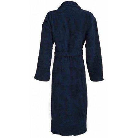 badjas unisex marineblauw katoen met sjaalkraag - grote maten badjas