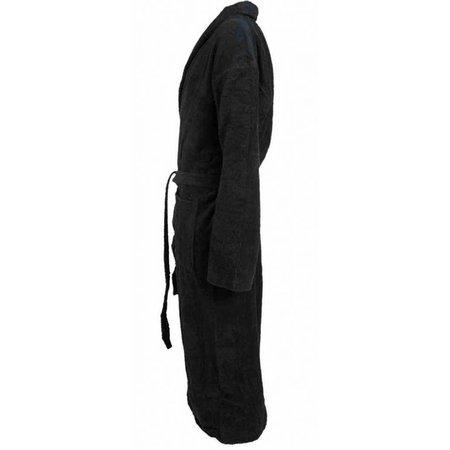 badjas unisex zwart katoen met sjaalkraag - grote maten badjas