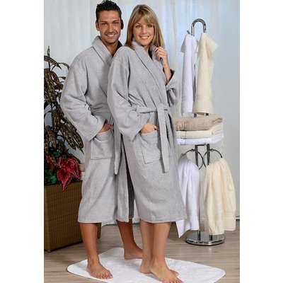 badjas unisex grijs met sjaalkraag