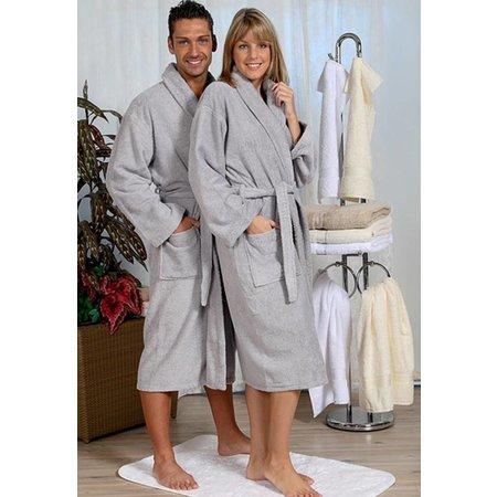 badjas unisex grijs katoen met sjaalkraag - grote maten badjas