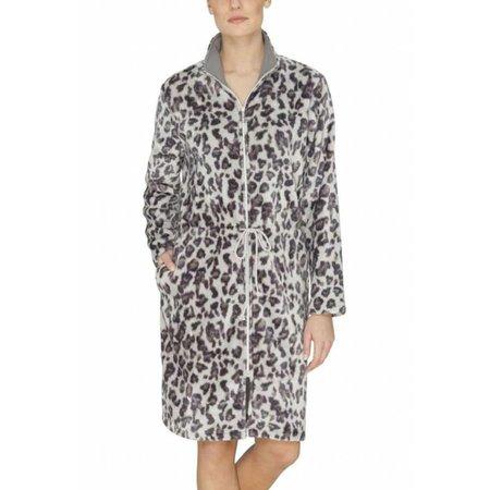 Hajo badjas dames luipaard fleece met rits